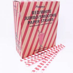 Smoothie Red/White Striped Paper Straws 20 x 250